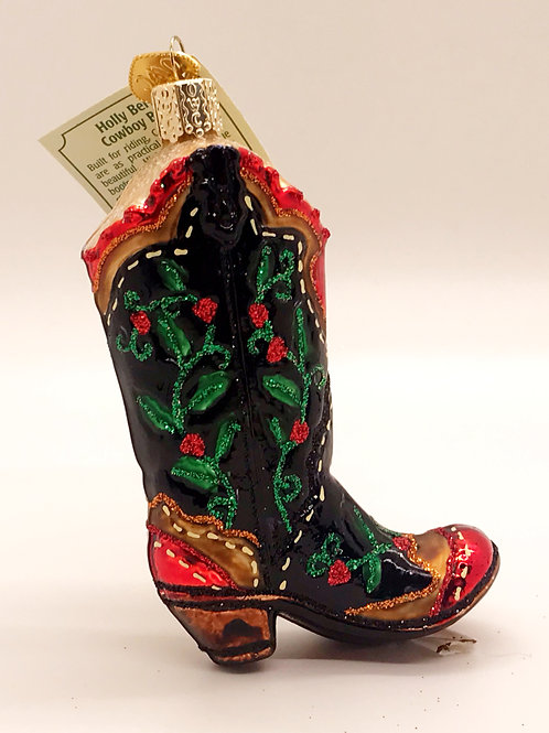 Holly Berry Cowboy Boots Old World Ornament