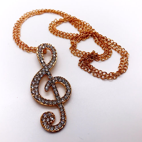 Studded Treble Clef Music Note Necklace