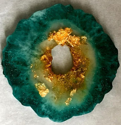 Malachite + Gold 4 piece coaster set