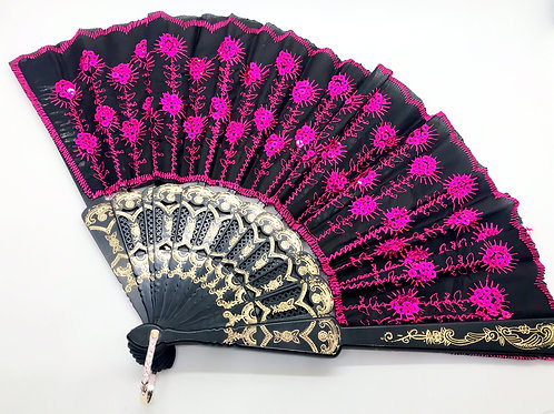 Magenta Sequin Lace Hand Fan