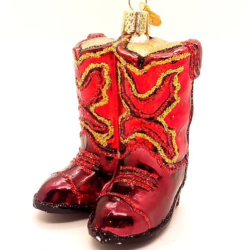 Red Cowboy Boots Old World Ornament