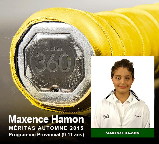 Maxence Hamon : Meritas – saison autonme 2015 / Programme Provincial