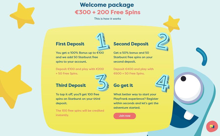 PlayFrank Welcome Bonus