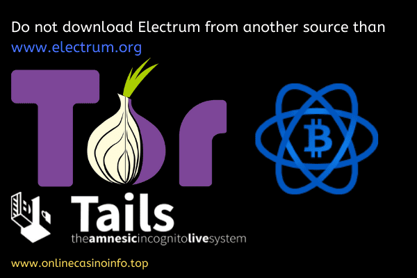 Electrum bitcoin wallet with Tor and Tails bootable disc