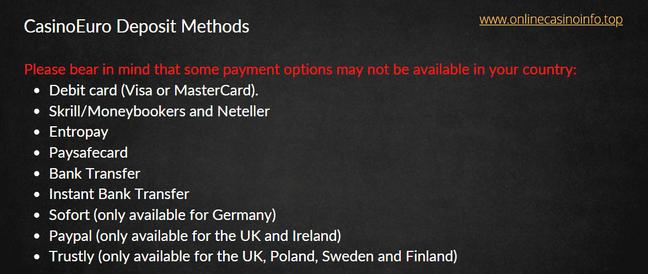 CasinoEuro deposit methods