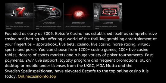 Betsafe casino website with slots, live casino, poker and sportsbook information