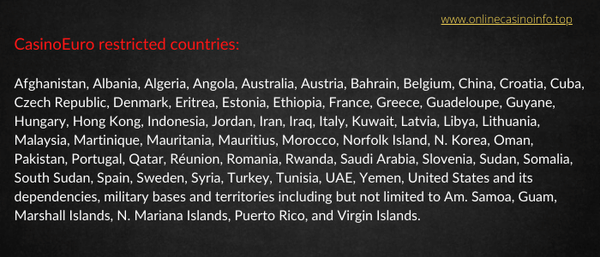CasinoEuro restricted countries list