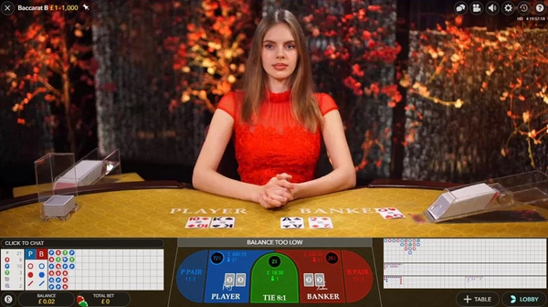 baccarat at live casino with real dealer