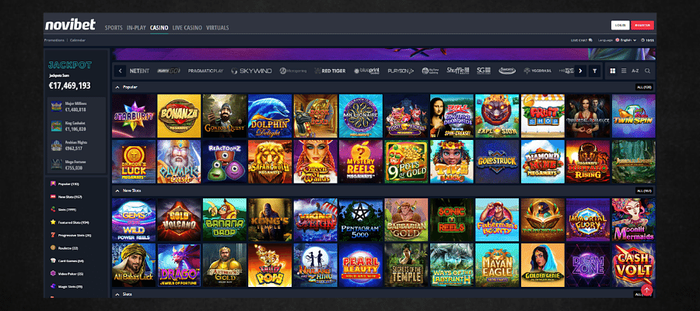 Screenshot of Novibet online casino slots, games, live casino and sports betting options