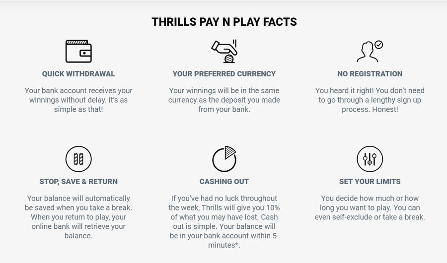Thrills casino registration, currency, limits and cash out information