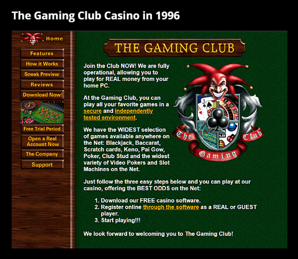 Microgaming's the Gaming Club Casino in 1996