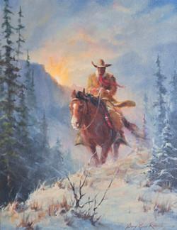 Snowfall Cowboy and Horse