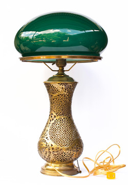 Moroccan Pierced Brass Lamp with Glass Shade