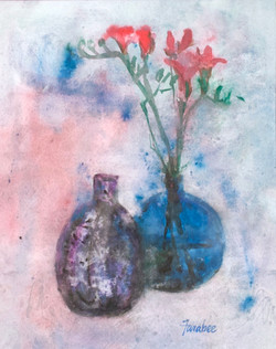 Two Vases with Pink Flowers
