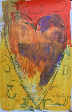 Yellow, Orange, and Purple Heart