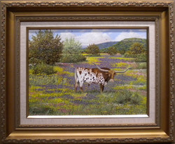 Longhorn with Wildflowers