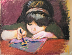 Girl with crayons