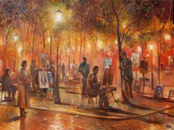 Montmartre Artists at Night