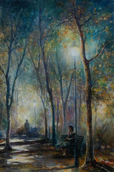 Night at Tuileries Park, Paris