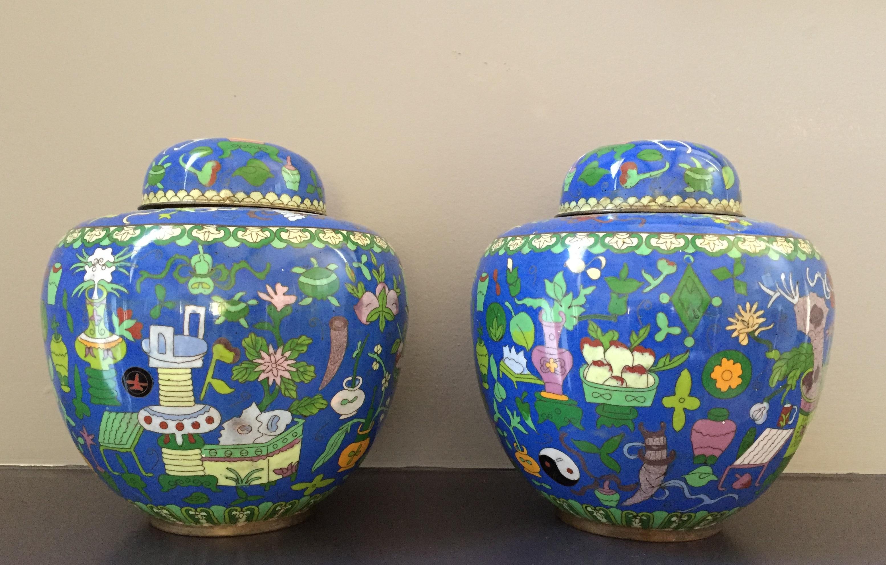Pair of Cloisonne Jars