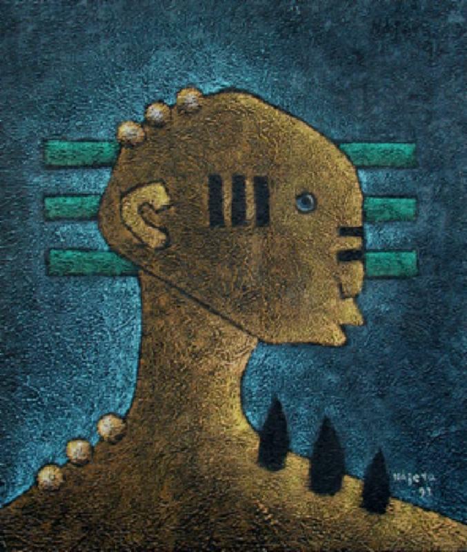 Primitive Figure in Blue