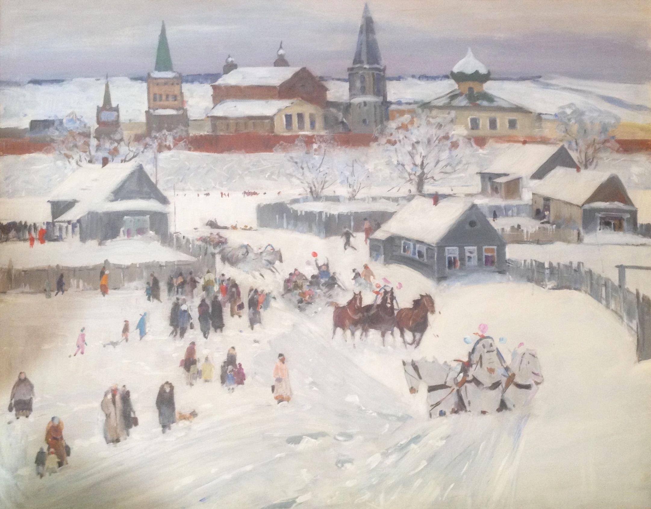 Snow Scene of Russian Villiage