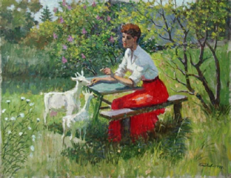 Woman Feeding Goats