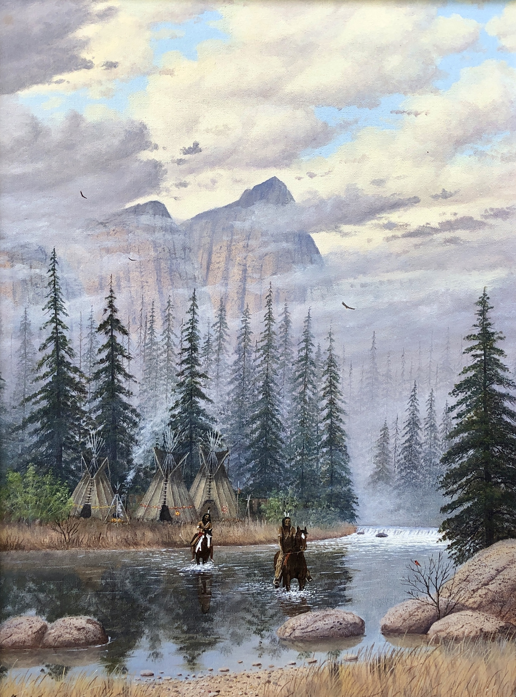 Native American Riders Crossing Rive