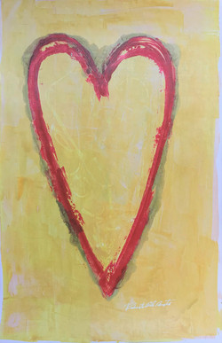 Red Heart Yellow Background