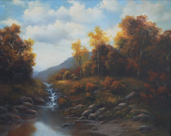 Autumnal Mountain Landscape with Creek