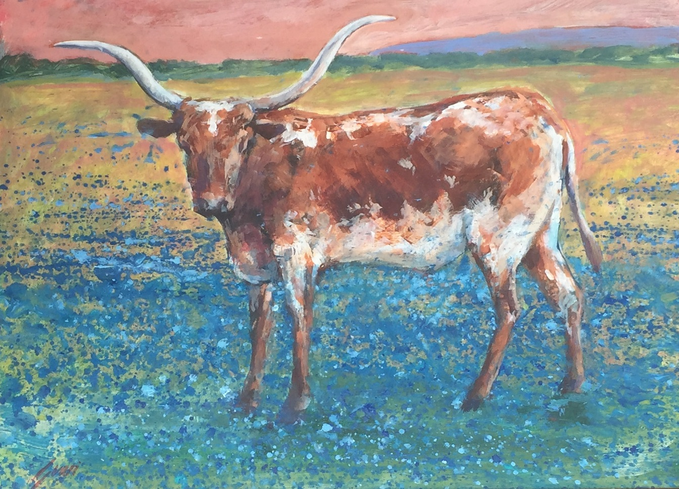 Longhorn and blue bonnets