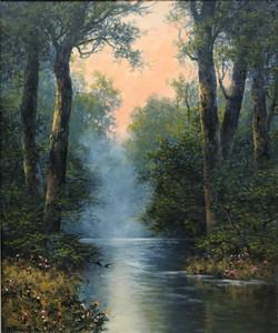 Woodland Landscape with Pond at Dusk