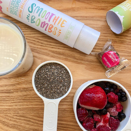 """Superberries Chia Pudding -                   """"Smoothie Bombs"""" by NaturalShop Tahiti."""