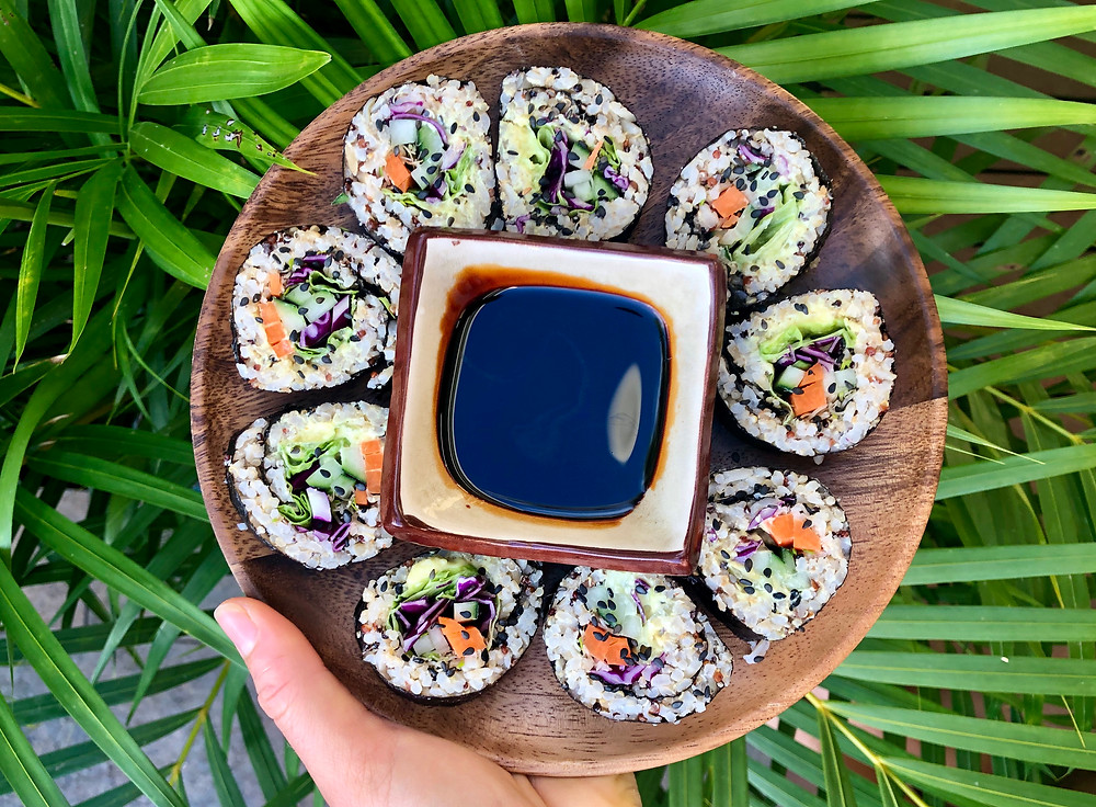 vegan healthy sushis Recipe made in Tahiti, crudités, sain gourmand, sauce vegan et mayonnaise plant-based recette