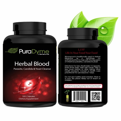 Herbal Blood - Parasite, Yeast & Candida Cleanse by PuraDyme
