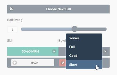Cricket Bowling variation selection