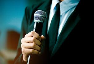 blurred of smart businessman speech, tal