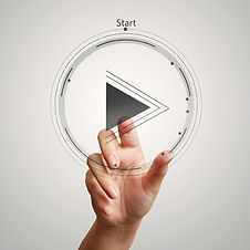 hand press play button sign to start or