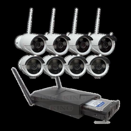 Kit de Sistema Vigilancia NVR 8 Cámaras Inalámbricas