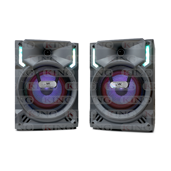 Caja KING Amplificada Doble 8 Pulgadas con Bluetooth