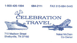 Celebration Travel Business Card