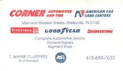 Corner Automotive Business Card