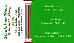 Plantation House Business Card