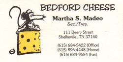 Bedford Cheese Business Card