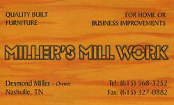 Miller's Mill Work Business Card