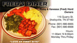 Fred's Diner Business Card