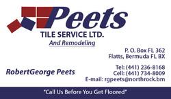 Peets Tile Service Business Card
