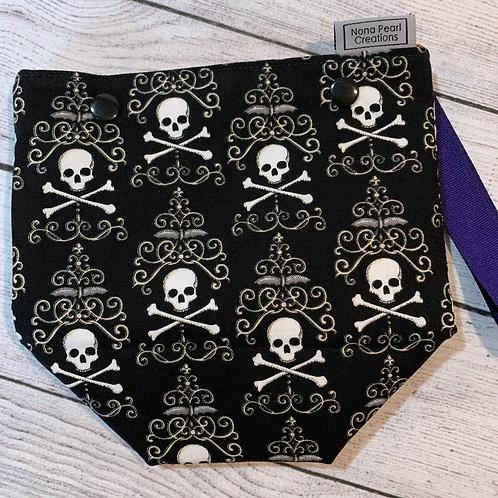 Black Skull and Crossbones Snap Sack
