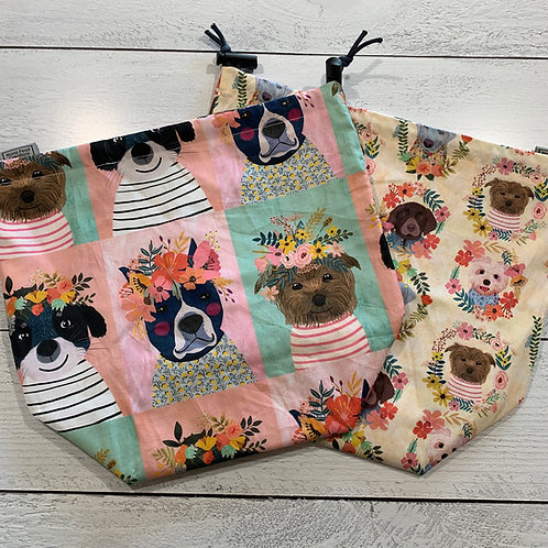 Little Floral Dogs Drawstring Bag