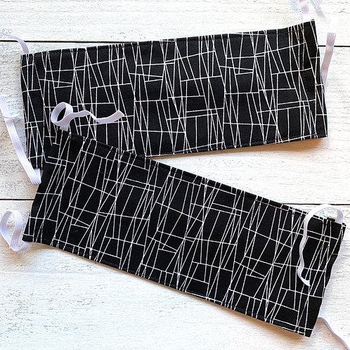 Black Line Texture Fabric Mask Size L